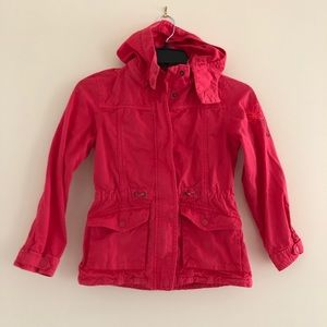 Red hooded zip butterfly embroidered jacket